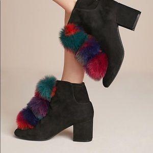 Anthropologie Cecelia Black Pom Pom Ankle Boots |7